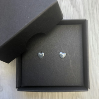 Dark grey enamel heart studs. Sterling silver studs.
