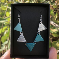 Turquoise enamel bunting necklace. Sterling Silver necklace.