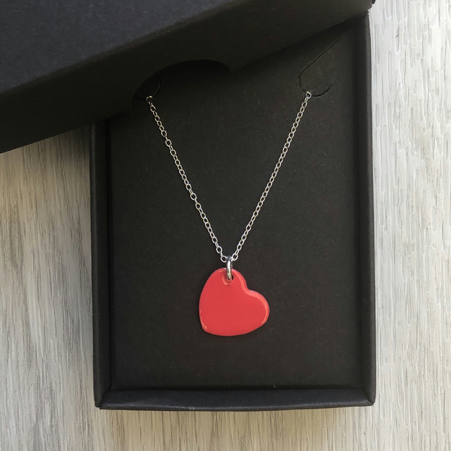 Coral red enamel heart necklace