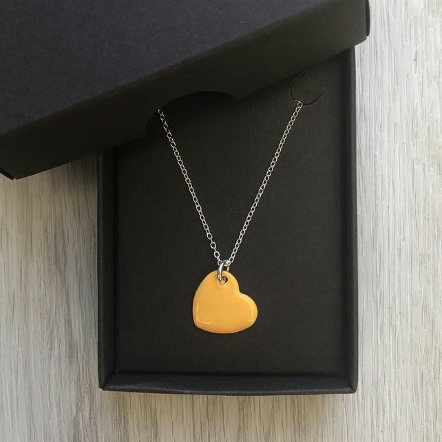 Mustard yellow enamel heart necklace