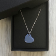 Blue enamel heart necklace. Sterling silver necklace
