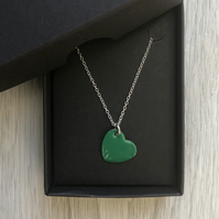 Green enamel heart necklace. Sterling silver necklace