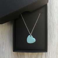 Turquoise enamel heart necklace. Sterling silver necklace