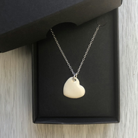 Cream enamel heart necklace. Sterling silver necklace