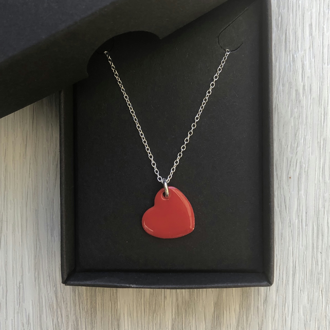 Bright red enamel heart necklace. Sterling silver necklace