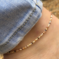 Honey butter mix anklet. Made to order. Sterling silver