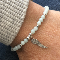 Chinese amazonite bracelet with angel wing charm