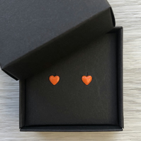 Orange enamel heart studs. Sterling silver studs.