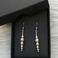 Sterling Silver beaded drop earrings