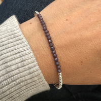 Sterling Silver and purple crystal bracelet