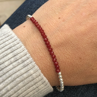 Sterling Silver and dark red crystal bracelet