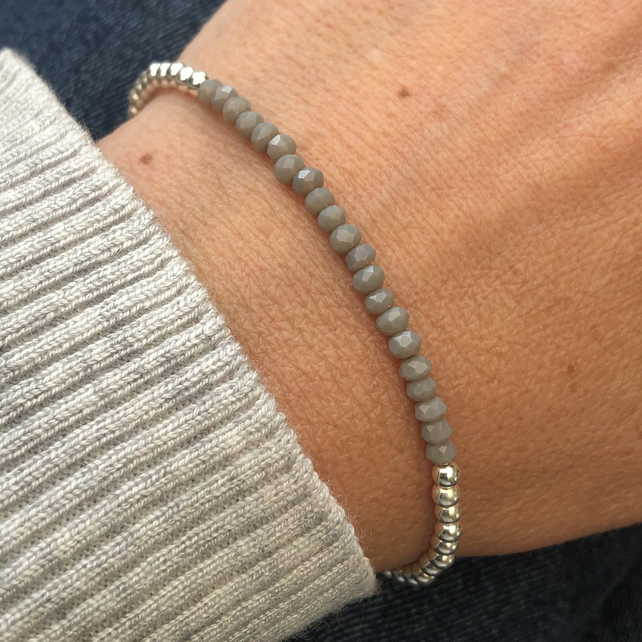 Sterling Silver and grey crystal bracelet
