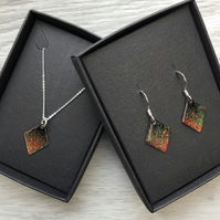 Diamond enamelled necklace & earring sets. Fireworks. Sterling Silver
