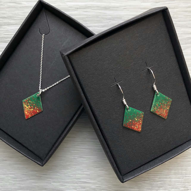 Diamond enamelled necklace & earring sets. Autumnal mix. Sterling Silver