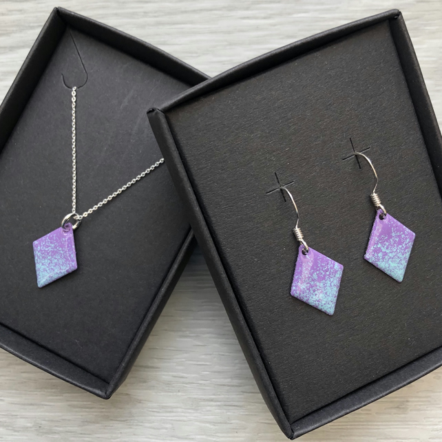 Diamond enamelled necklace & earring sets. Purple & turquoise. Sterling Silver