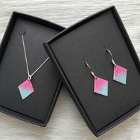 Diamond enamelled necklace & earring sets. Pink & turquoise. Sterling Silver