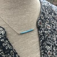 Turquoise bar sterling silver necklace