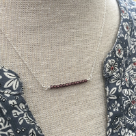 Sale now 10.00 - Garnet bar sterling silver necklace