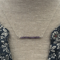 Amethyst bar sterling silver necklace