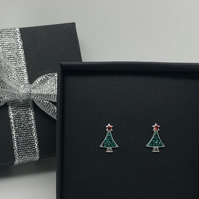 Sterling Silver and crystal Christmas tree earrings
