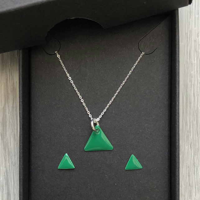 Tiny enamel triangle stud earrings & necklace set. Sterling silver. Minimalist.