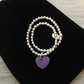 Purple enamel heart on silver beaded stretch bracelet. Stacking bracelet.