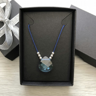 Aquamarine Swarovski crystal and silk necklace