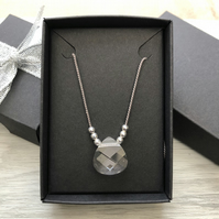 Swarovski crystal and grey silk necklace