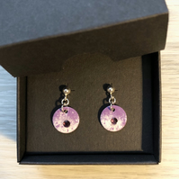 Enamel & crystal disc on sterling silver post earrings
