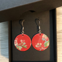 Decoupage and enamel disc earrings. Sterling silver.