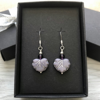 Sale now 7.50 - Lilac Czech leaf earrings. Sterling silver