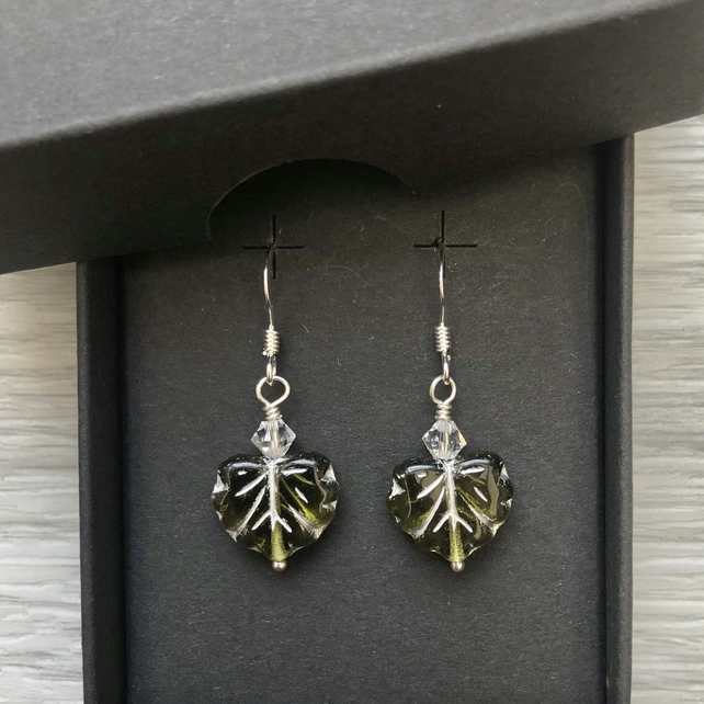 Olive green Czech leaf earrings. Sterling silver