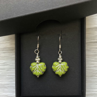Green Czech leaf earrings. Sterling silver
