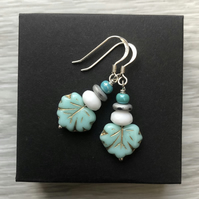 Turquoise Czech leaf earrings. Sterling silver