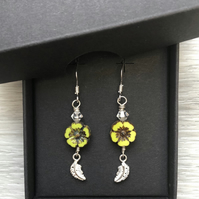 Lime flower & silver leaf drop earrings. Sterling silver.