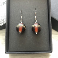 Autumnal brown glass earrings