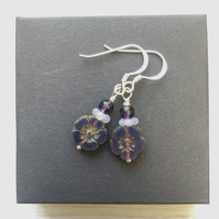 Purple Czech glass flower drop earrings. Sterling silver.