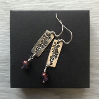 Grape vine earrings. Sterling silver