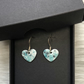 White & turquoise splash enamel heart charm, sterling silver earrings