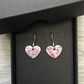 White & pink splash enamel heart charm, sterling silver earrings