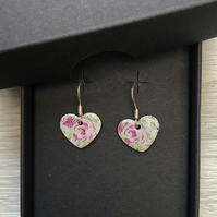 Pink flower decoupage & enamel heart charm, sterling silver earrings
