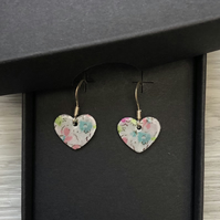 Blue flower decoupage & enamel heart charm, sterling silver earrings
