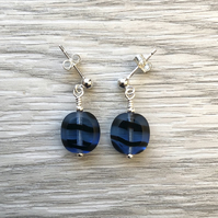 Blue & black glass drop post earrings. Sterling silver