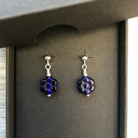 Blue flower glass drop post earrings. Sterling silver