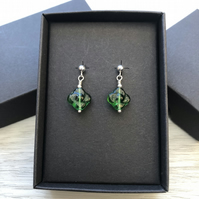 Green flower glass drop post earrings. Sterling silver