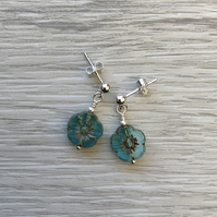 Turquoise flower glass drop post earrings. Sterling silver