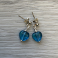 Blue heart glass drop post earrings. Sterling silver