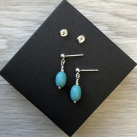 Turquoise semi precious drop post earrings. Sterling silver