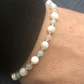 Mother of pearl, rose quartz, Chinese amozonite & sterling silver bracelet