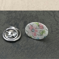 Decoupage & enamel lapel pin